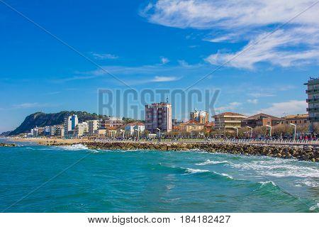 PESARO, ITALY - APRIL 30, 2017: Summer view of Pesaro city on the adriatic sea