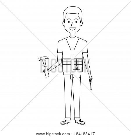 construction workman avatar character vector illustration design