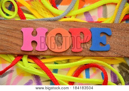 hope word on a  abstract colorful background