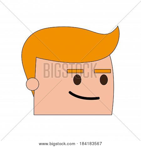 color image side view face cartoon guy with expression of satisfaction vector illustration