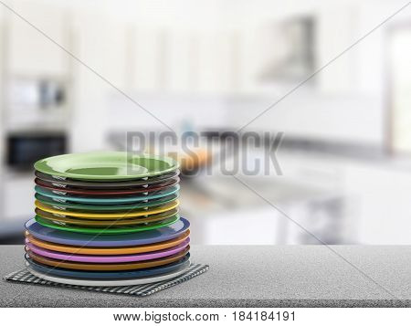 3d rendering stack of colorful dishes on kitchen counter