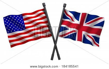 Flag USA and world map. 3d illustration