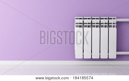 Heating Radiators home on wall. 3d illustration