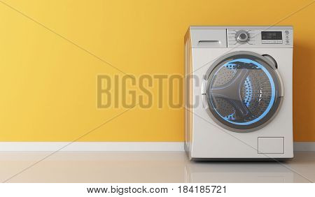 Modern clothes washing machine and orange wall. 3d illustration