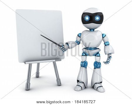 Robot e-learning and blackboard on white background. 3d illustration