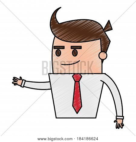 color pencil image half body cartoon business guy with extended hand vector illustration