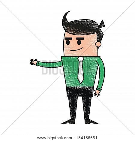 color pencil image full body cartoon business man extended hand vector illustration