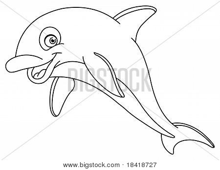 Vector outlined illustration of a dolphin for coloring books poster