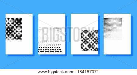Halftone covers brochures template. Design half tone cover for magazine printing products flyer presentation brochure or booklet. Vector illustration.
