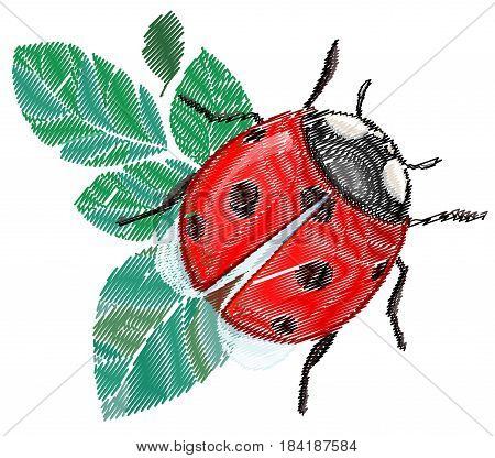 Embroidery ladybug vector illustration, Embroidery patch vintage illustration isolated on white background.