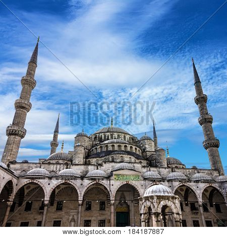 Blue mosque Sultanahmet building architecture, Istanbul, Turkey