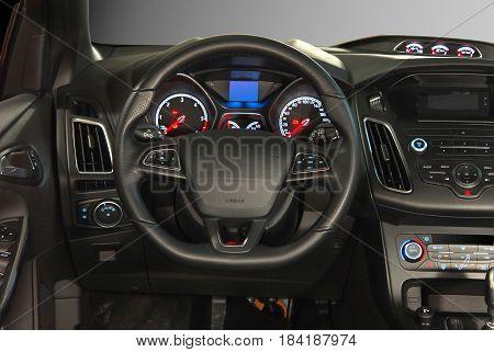 steering wheel in the new modern car