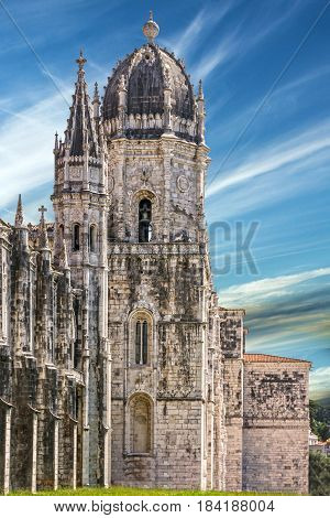 Monastery of Jeronimos building architecture in Lisbon, Portugal