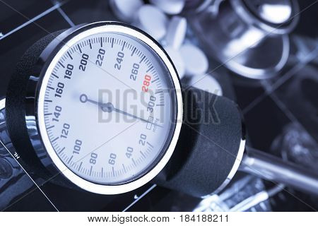 Clock face Of mechanical Tonometer for control Of blood pressure