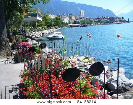 MONTREUX, SWITZERLAND - May 1, 2017: View on Geneva Lake in summer in town Montreux. Montreux is famous resort in Switzerland.