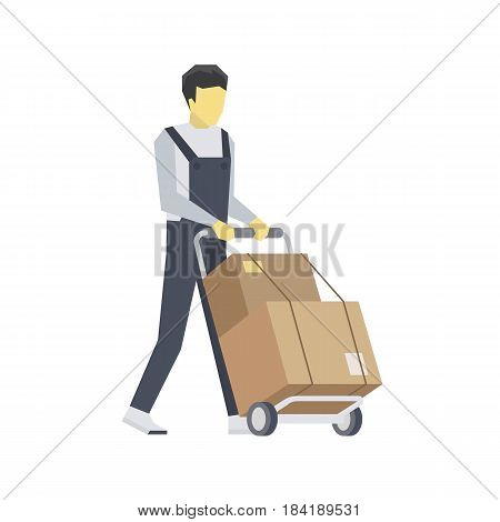 Vector Flat Illustration of a Man is Delivering Boxes