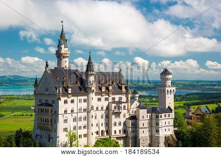 Neuschwanstein, Lovely Autumn Landscape Panorama Picture of the fairy tale castle near Munich in Bavaria, Germany