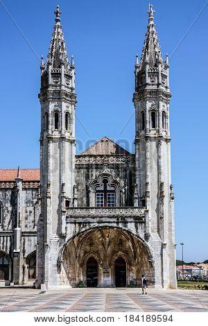 Lisbon, Portugal - April 3, 2017: Monastery of Jeronimos in Lisbon, Portugal