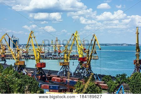 Odessa, Ukraine - May 1, 2017: Container terminal in Quarantine harbor of Odessa sea commercial port