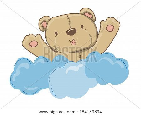 New Baby Card with cute bear, Baby shower vector illustration