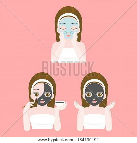 Cute pretty girl in towel scrub bead cleansing and apply black charcoal mask on face , flat design vector instruction for dermatology, cosmetic and spa product