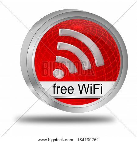 decorative red free wireless WiFi button - 3D illustration