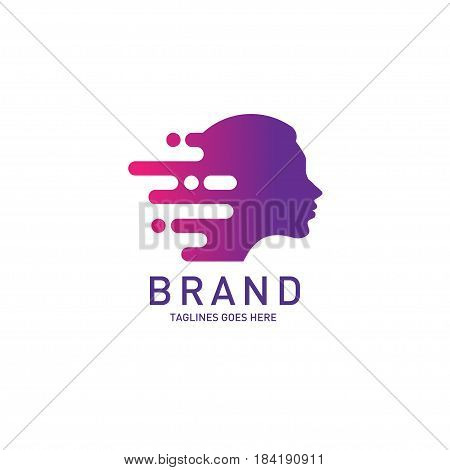 creative woman head logo Brain, Creative mind, learning and design icon. Man head, people symbol, styles head vector