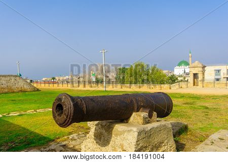 Old Guns On The City Wall Promenade In Acre (akko)