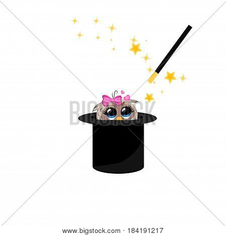 Very high quality original trendy vector illustration of magic hat with owl and wand with sparkles
