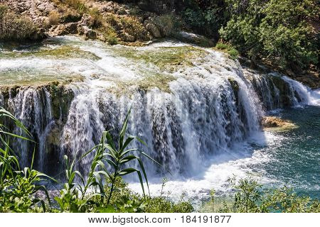 Krka National park lake waterfall in Croatia