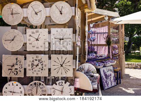 Croatia, Brac island - Aug 5, 2016: Clock souvenir shop in Croatia, Brac island