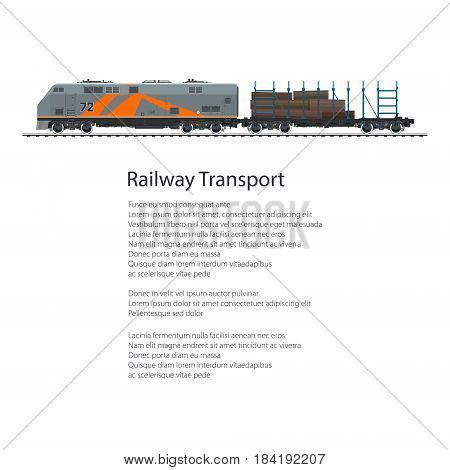 Flyer Locomotive with Railway Platform with Timber Train Isolated on White Background and Text Cargo Land Transportation Poster Brochure Design Vector Illustration