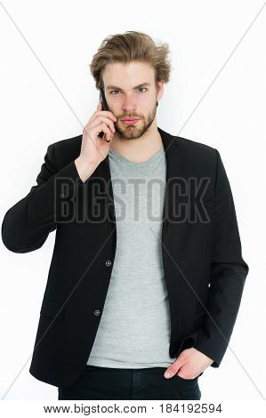 Young Bearded Man With Formal Jacket Using Mobile Phone Device