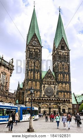 Bremen, Germany - May 1, 2017: Cathedral church square (Bremer Sankt Petri Dom)