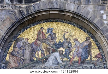 Bremen, Germany - May 1, 2017: Christian icon of Christ beating on the facade of Bremen Cathedral