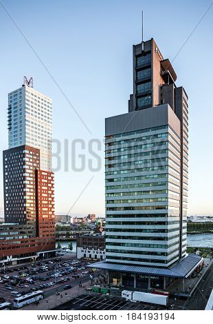 Rotterdam, Netherlands - May 1, 2017: Seafront modern port Rotterdam buildings.