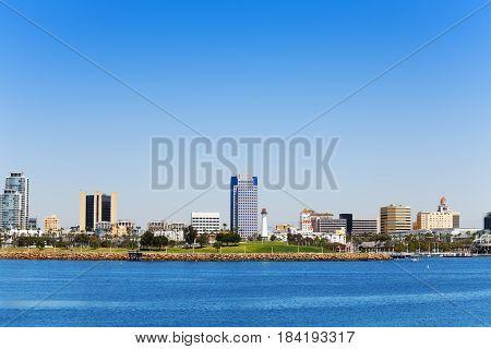 Beautiful marina and downtown skyline of Long Beach in California, USA