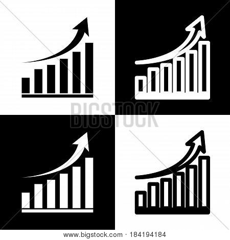 Growing graph sign. Vector. Black and white icons and line icon on chess board.