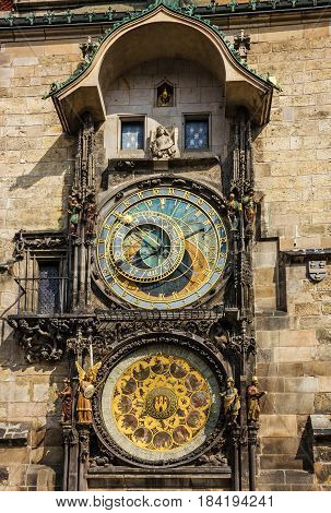 Prague clock tower. Astronomical Clock in Old Town, Czech Republic.