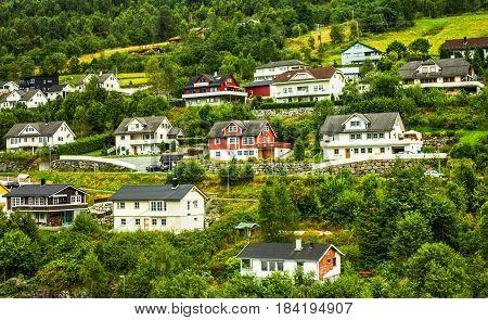 Country house in Norwegian village Olden, Norway.