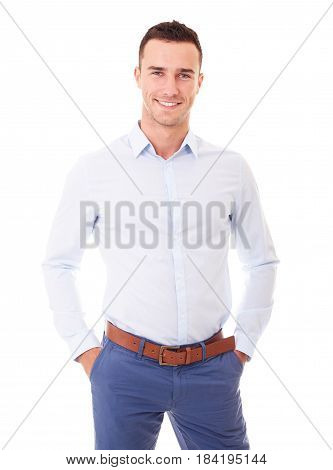 Portrait Of Smiling Man With Hands In Pockets, Isolated On White Background