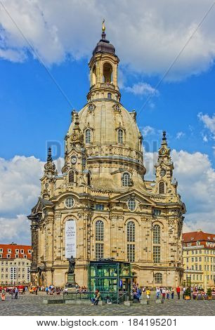 Dresden, Germany - April 30, 2017: Frauenkirche Cathedral church in Dresden