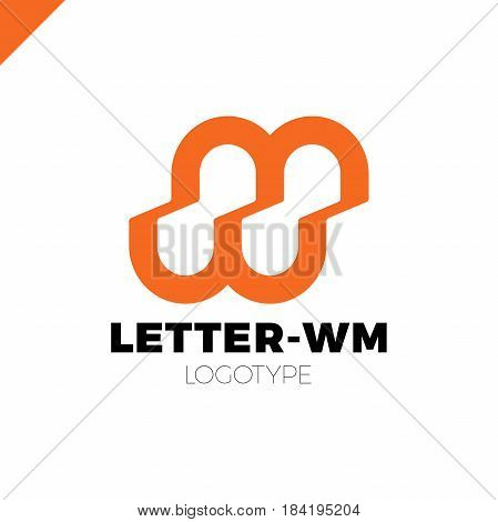 Bank Or Finance Organization Letter M Or W Logo Template. Marketing Rate Simple Logotype