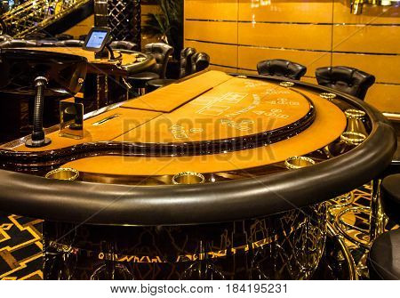 CRUISE LINER COSTA - JAN 31, 2017: Interior of International casino of liner Costa.