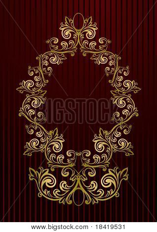 Vector black royal wallpaper with gold floral frame