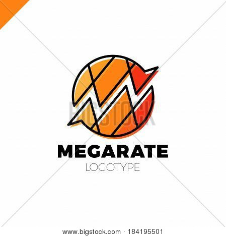 Bank Or Finance Organization Letter M Or W Logo Template. Marketing Rate Simple Circle Logotype In P