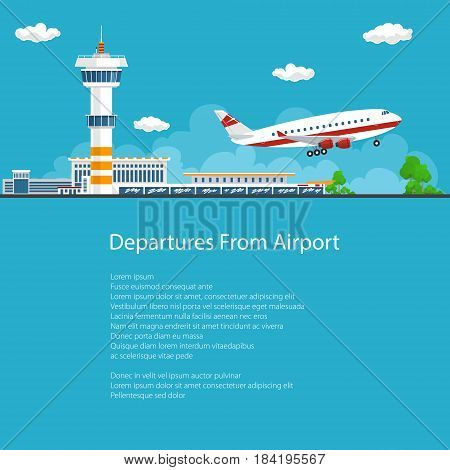 Poster Airplane Takes Off from the Airport Control Tower and Airplane on the Background of the City and the Text Brochure Flyer Design Air Travel and Transportation Vector Illustration
