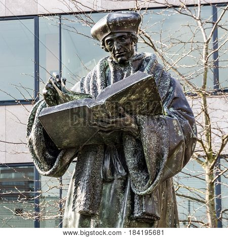 Rotterdam, The Netherlands - April 4, 2017: Monument to Erasmus of Rotterdam, The Netherlands (Desiderius Erasmus Roterodamus)