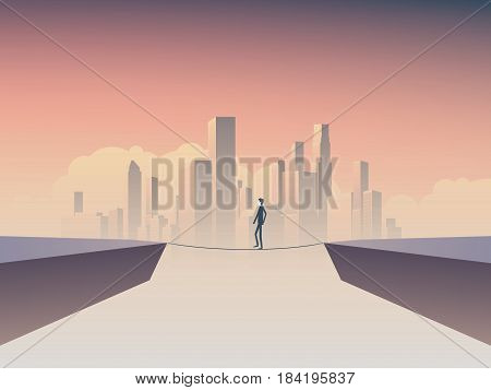Businessman walking on rope, tightrope as a symbol of business risk, venture, challenge. Eps10 vector illustration.