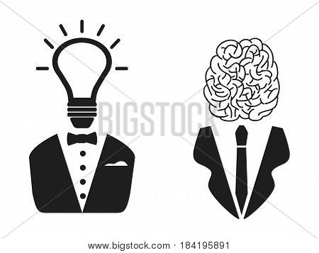 isolated 2 intelligent people head icon on white background